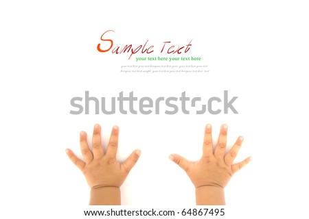 Hands of Crawling Baby on white background with copy space. - stock photo