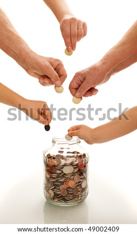 Hands of different generations putting coins in a  glass jar -financial education concept
