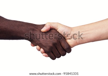 Hands of different races together isolated in white - stock photo