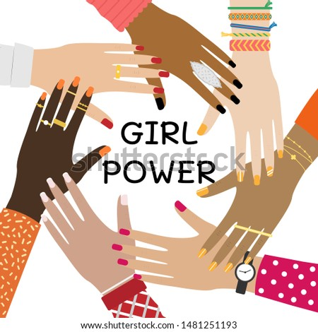 Hands of diverse group of people putting together. Concept of togetherness and teamwork. Girl power.
