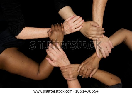 Hands of diversity and women's empowerment racial harmony