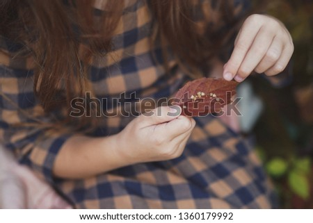 Hands of little girl holding an autumn leaves on autumn background. Season concept.  #1360179992