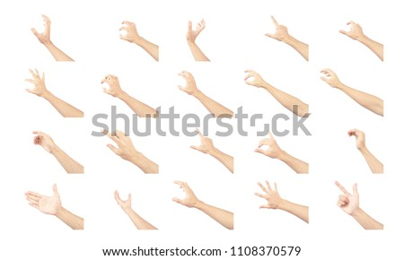hands of man collection are in gestures isolated on white background #1108370579