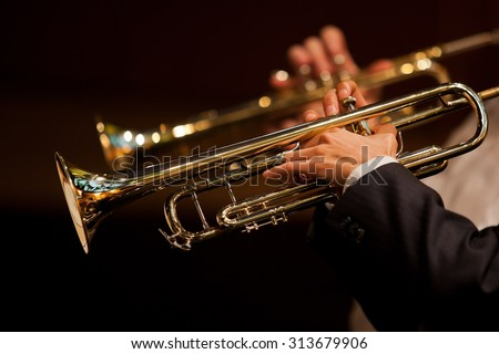 Hands of man playing the trumpet in the orchestra in dark colors #313679906