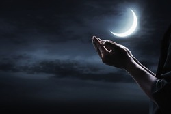 Hands of muslim man praying
