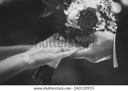 Hands of newlywed couple in love, wedding on summer day.  Picture in black and white.
