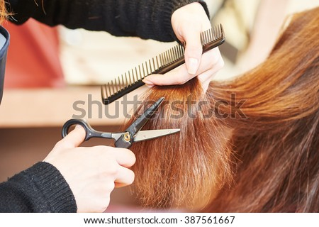 Hands of professional hair stylist with scissors and comb #387561667
