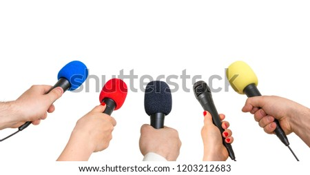 Hands of reporters with many microphones isolated on white background - journalism and broadcasting concept