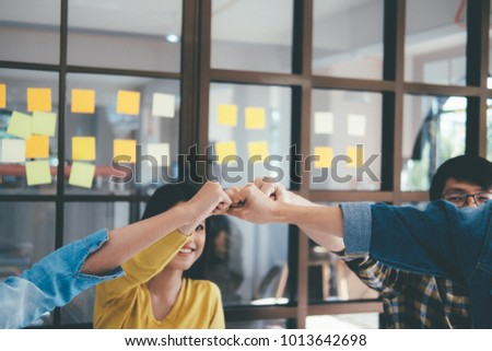 Hands of success startup business teamwork.Teamwork Togetherness Collaboration Concept