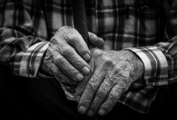 Hands of the old man. Black and White.