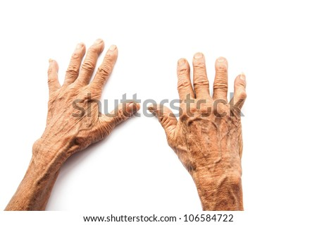 hands of the old man on a white background