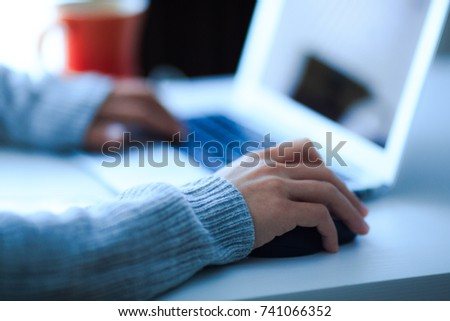 hands of women working on personal computers #741066352
