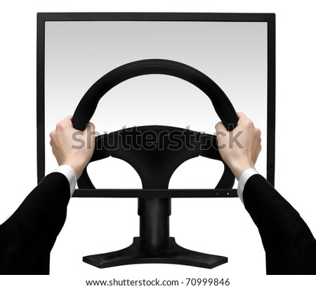 Hands on a steering wheel in the screen the monitor isolated white background