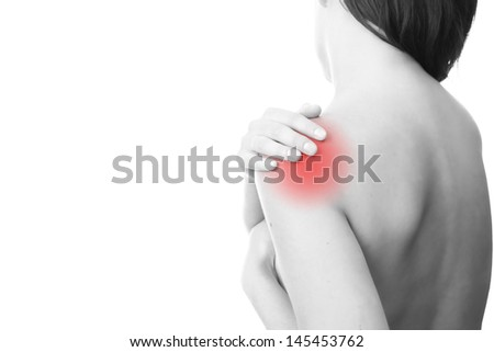 Hands on a woman's shoulder Pain in the muscles