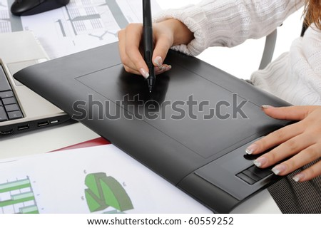 hands on graphic tablet.. Isolated on white background