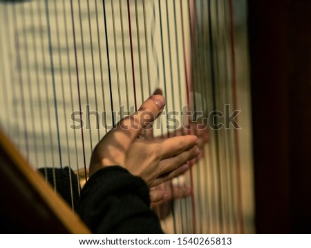 Hands on harp strings - Old classical stringed instrument