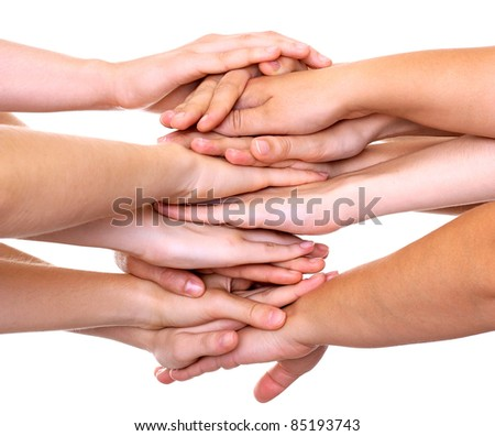 Hands on top of each other isolated