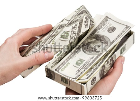 hands open a box with money