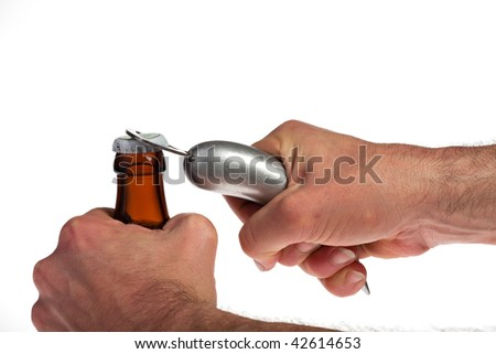Hands opening a beer bottle on a white background
