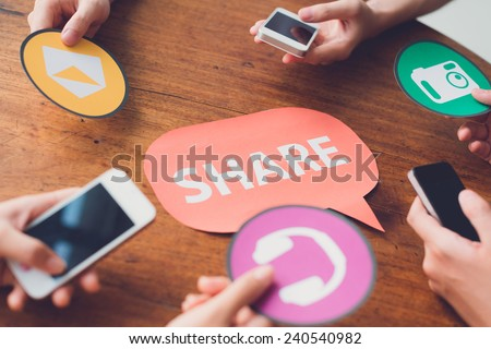 Hands passing application icons: people sharing messages, music, and photos