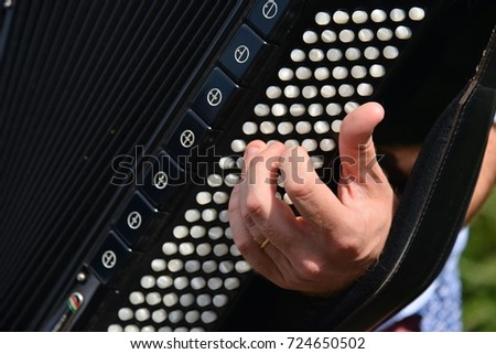 hands playing accordion   #724650502