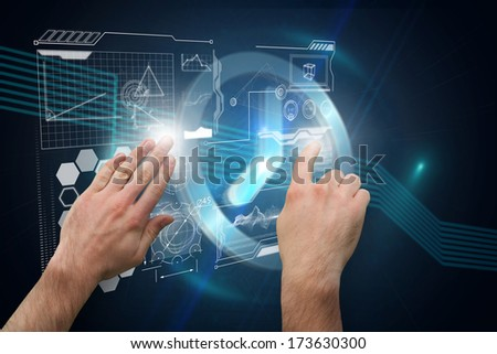 Hands pointing and presenting against clock on technical background #173630300