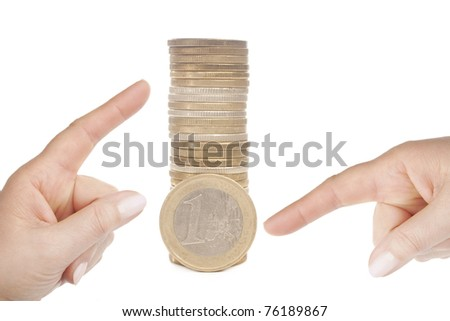 Hands pointing at money- concept for business, innovation, growth and money. isolated on white