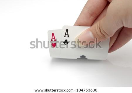 Hands poker - stock photo
