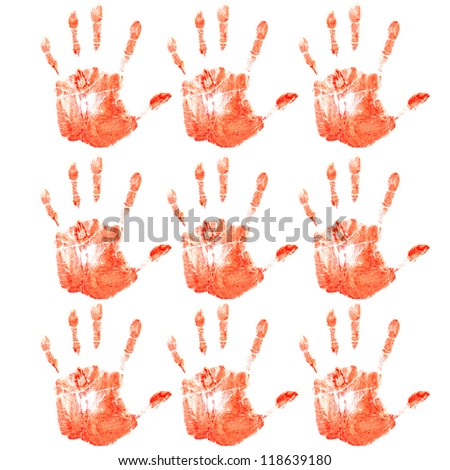 hands print red isolated on white background