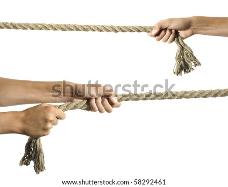 Hands pull a rope. Isolated white background