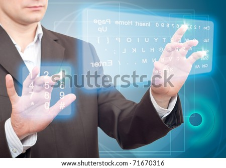 Hands pushing a button on a touch screen. Two Virtual Keyboard.