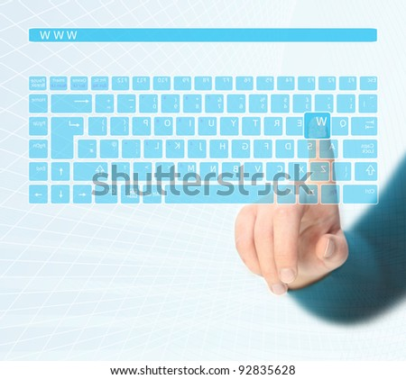 Hands pushing a button on a touch screen Virtual Keyboard