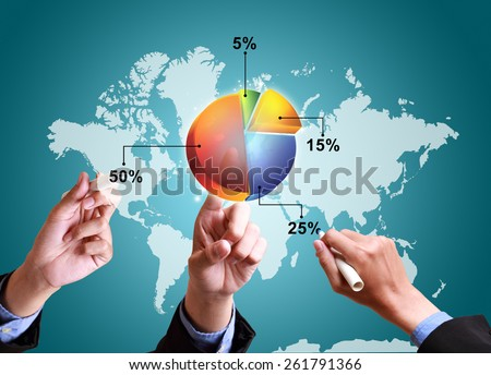 hands pushing strategy with pie chart diagram structure worldwide