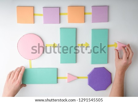 Hands putting colored paper blocks and arrows, visual representation of an algorithm. 3D diagram concept. #1291545505