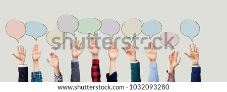 Hands raised with speech bubble #1032093280