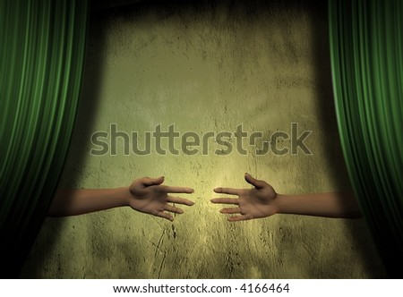 Hands reach for each other behind Stage Curtains