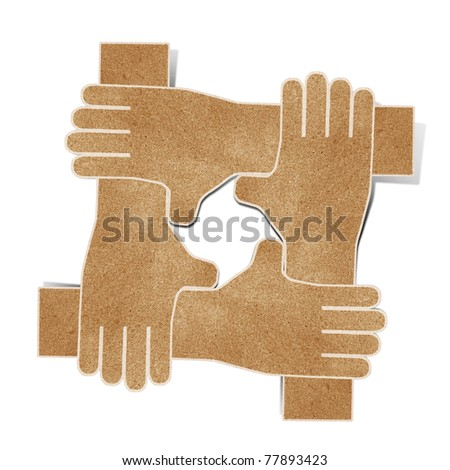 hands  recycled paper craft stick on white background