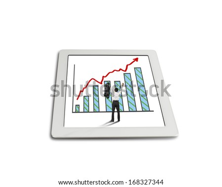 hands rising cheered businessman with growth red arrow trend and chart on tablet in white background