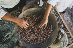 Hands roasting Cacao beans on ceramic pan over fire.
