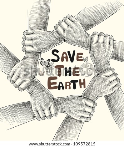 Hands Save The Earth Drawing Conceptual.