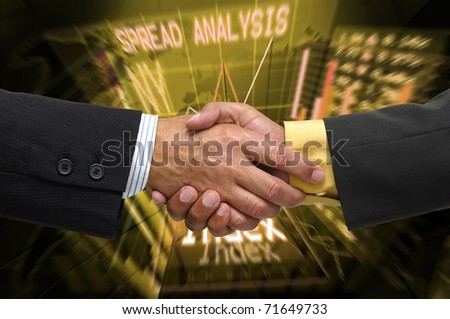 Hands shaking over a stock exchange background