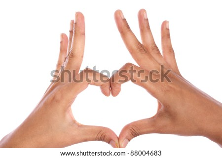 Hands shaping a heart on white