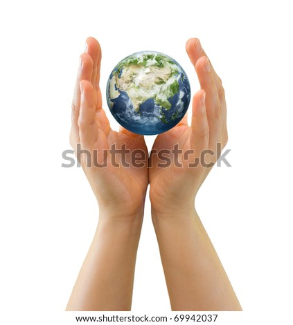 Hands sheltering tiny realistic globe symbolizing environmental care, facing Asia