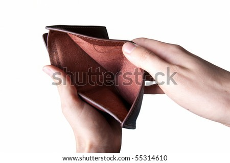 hands showing an empty wallet