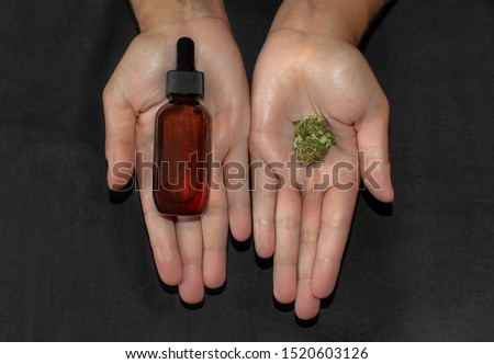 Hands showing and comparing a marijuana bud and a bottle of cbd oil, a potent cannabis extract. Natural remedy used for pain and diseases.