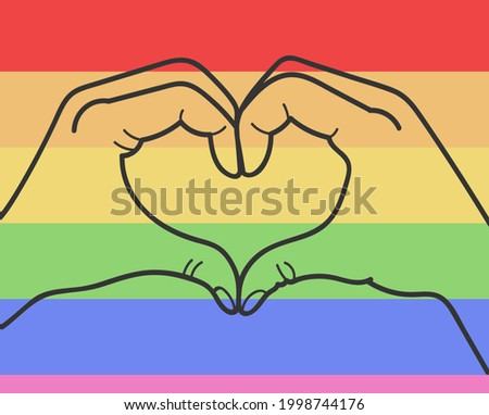 Hands showing heart sign on gay pride and LGTB rainbow flag.Sexual minority,homosexuality and equal rights concept.Silhouete of love symbol on colorful background. Foto stock ©
