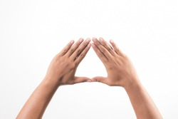 Hands showing the triangle sign