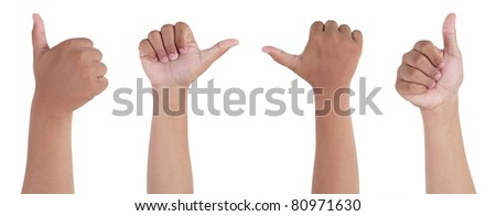 hands showing thumbs up sign isolated on white background - stock photo
