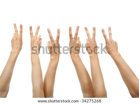 Hands showing victory sign, isolated on white.