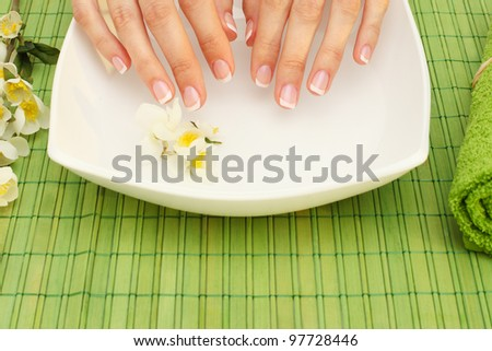 Hands spa - manicure in  beauty salon